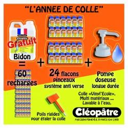 Schoolpack : 24 flacons pinceaux 80ml + bidon 5kg colle vinylique