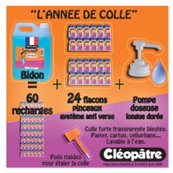 Schoolpack : 24 flacons pinceaux 80ml + bidon de 5kg de colle Océane