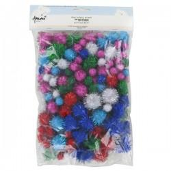 Pompons paillettes couleurs assorties x200