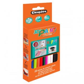 Boîte de 20 bâtons de peinture colorée Cléo'STICK 3D Paint