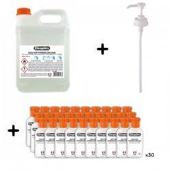 Kit Solution hydroalcoolique 5L avec pompe et flacons vides