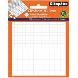 Cléofoam carrés mousse en 2 mm d'épaisseur prédécoupé (200 minis + 50 maxis)
