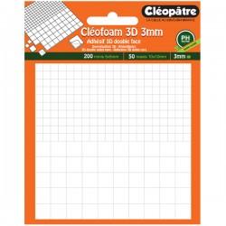Cléofoam carrés mousse en 3 mm d'épaisseur prédécoupé (200 minis + 50 maxis)