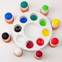 Paleta de pinturas + 8 pinceles plantilla de plastico