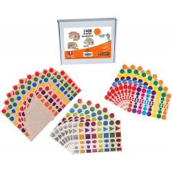 Coffret 1408 gommettes géométriques multicolore