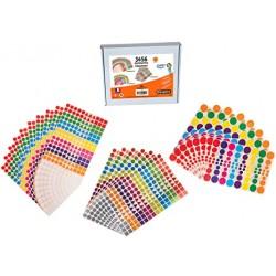 Coffret 3456 gommettes géométriques multicolore